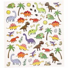 Stickers, ark 15x16,5 cm, dinosaurer, 1ark