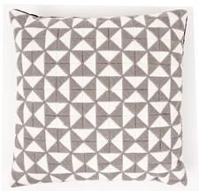 Broderi Kudde med trianglar grå/vit set 40x40 cm