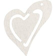 Skjevt hjerte, str. 25x22 mm, tykkelse 1,7 mm, 20 stk., råhvit