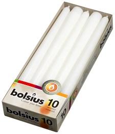 Lys, 24,5 x 2,4 cm, 10-pack, Hvit, Bolsius