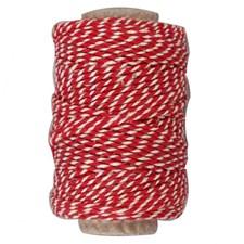 Bomullssnöre 50 m Röd/Vit