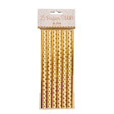 Rice Sugrör 25-pack 20 cm Papper Guld