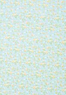 Stoff Selvklebende, Lyseblå Blomster A4, Bomull