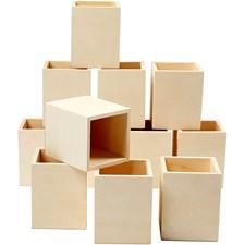 Pennställ av Plywood 7,5x7,5x9,5 cm 12 st