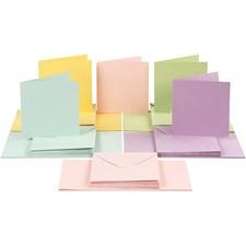Kort og konvolutter, kort str. 15x15 cm, konvolutt str. 16x16 cm, pastellfarger, 50sett
