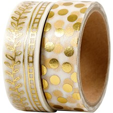 Washitejp, B: 15 mm, guld, ranka och prickar - folie, 2x4m
