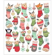 Stickers, ark 15x16,5 cm, ca. 33 stk., dyr i julestrømpe, 1ark
