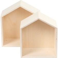 Säilytyslaatikot, talot, kork. 22,5+25 cm, lev. 19,5+22,5 cm, vaneri, 2kpl, syvyys 12,5 cm