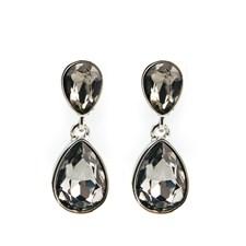 Glam double drop Örhängen, Black diamond silver