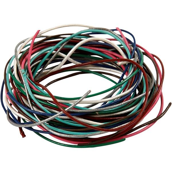 Lädersnöre 1 mm x 90 cm 8 Färger (mixade färger) - lädersnöre