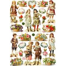 Glansbilder, ark 16,5x23,5 cm, barn og blomster, 3ark