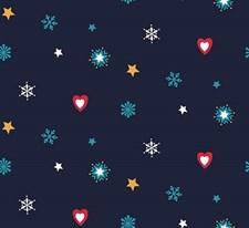 Stoff Jul Blå, Hjerter, 50 x 160 cm