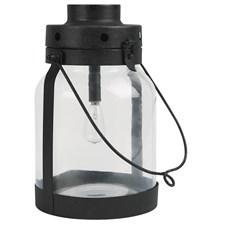LED-lykt, Glass/Metall, H26,5 cm D16 cm, Svart, Ib Laursen
