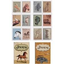 Stickers, str. 25x33 mm, hester og biler, 36ass.