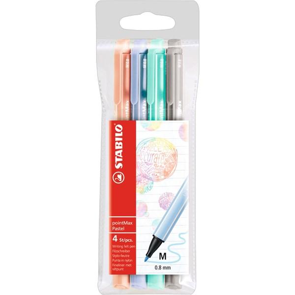Fiberpenna STABILO pointMax pastell 4-pack