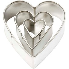 Kakformar Hjärta största mått 40x40 mm 3 st