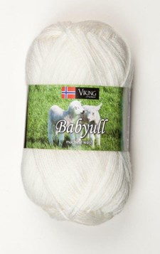 Viking of Norway Baby Ull Garn Merinoull 50g Vit 300