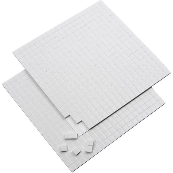 3D Klebeputer, str. 5x5 mm, tykkelse 2 mm, hvit, 2ark