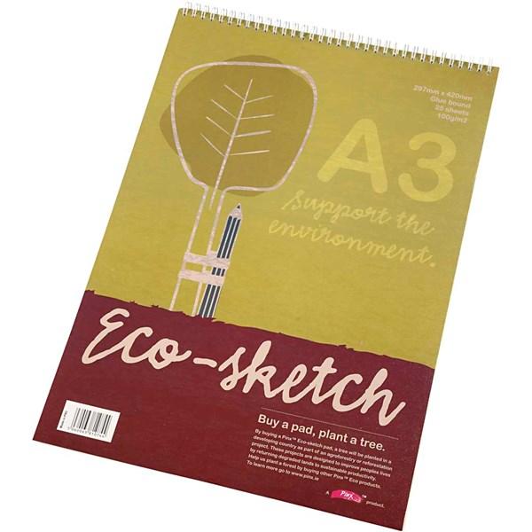 Skissblock med Spiral A3 100 g Ekologiskt Papper 25 Ark