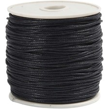 Bomullssnor, tykkelse 1 mm, svart, 40m