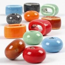 Keramikpärlor med Stort Hål dia 18 mm Olika Färger 12 st