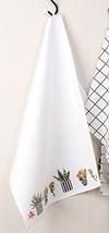 Broderi Kjøkkenhåndkle med sukkulenter sett 50 x 75 cm