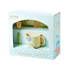 Rice Animal Print Baby Middagsset 4-delar Blått