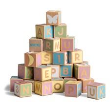 Alfabetsklossar 36 stycken, Pastell, Micki
