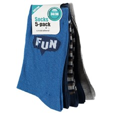 5-pack strumpor, Blå, Crossbow, strl 28/30