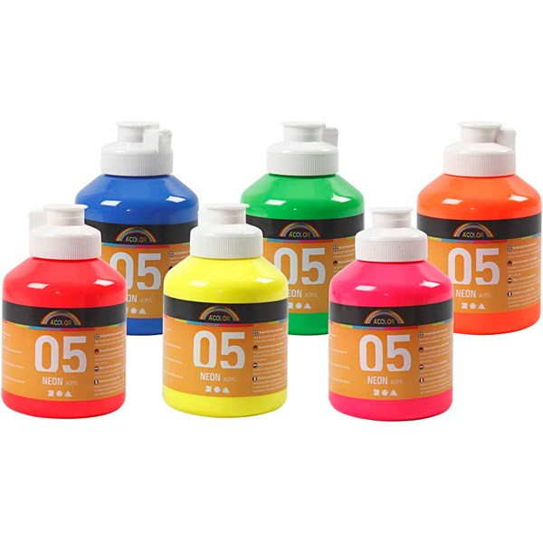 A-Color akrylmaling, neonfarger, 05 - neon, 6x500ml