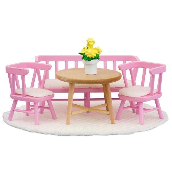 Småland keittiön ruokapöytä + tuolit, vaaleanpunainen