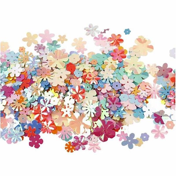 Paljetter, dia. 5-20 mm, ca. 390 stk., blomster, 10g