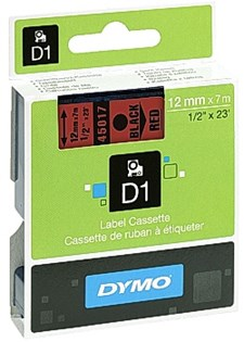 Teip DYMO D1 12 mm Svart på rød