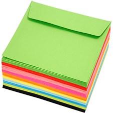 Fargede konvolutter, str. 16x16 cm,  80 g, ass. farger, 100stk.