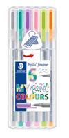 Triplus® fineliner 6-pack, i STAEDTLER-box, 0,3 mm fiberspets. Pastel