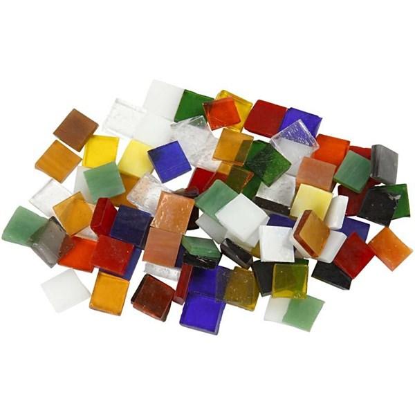 Glassmosaikk, str. 10x10 mm, tykkelse 3 mm, 454g