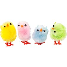 Påskkycklingar, H: 30 mm, pastellfärger, 12st.