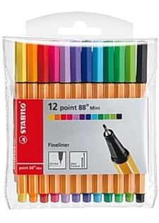 Ritpenna Fineliner Stabilo Point 88 Mini 0,4 mm Multi 12-pack