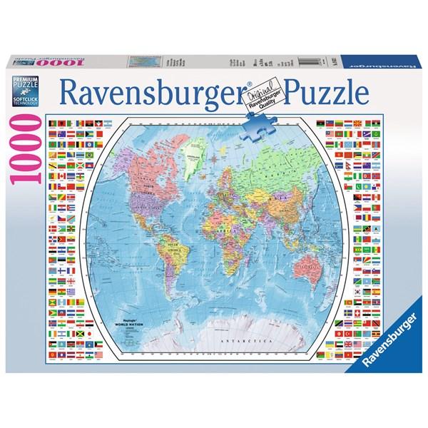 puslespill kart Political World Map, Puslespill 1000 biter, Ravensburger  puslespill kart