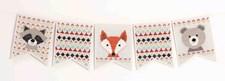 Broderi Vimpel med djur set 16,5 x 20,5 cm 5 delar