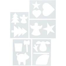 Sjablong, A4 21x30 cm, hvit, 5ass. ark