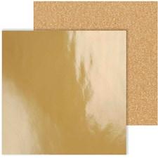 Designpapir, ark 30,5x30,5 cm, 120+128 g, 2 ass. ark, gull