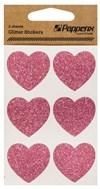 Stickers Glitter Hjerter Papperix Rosa