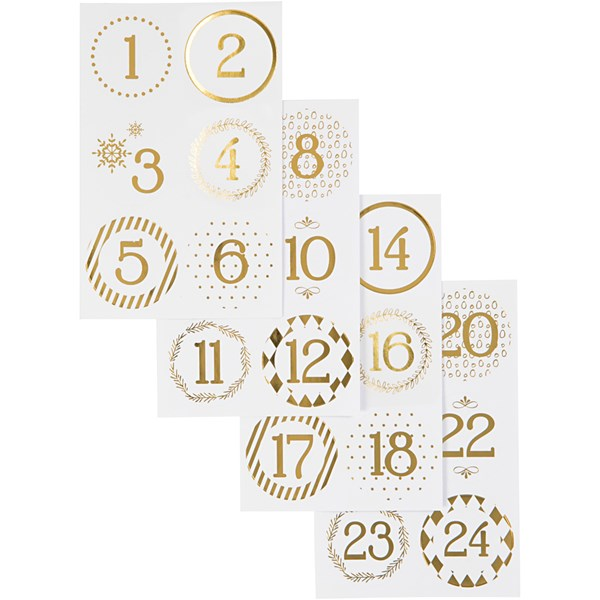 Kalendertall, dia. 40 mm, ark 9x14 cm, hvit, gull, 4ark
