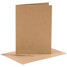 Korttipohjat ja kirjekuoret, kortin koko 10,5x15 cm, kirjekuoren koko 11,5x16,5 cm, 6 settiä, luonnonrusk.