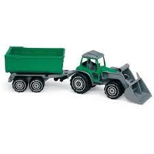 Traktor med frontlastare och släp, Grön, Plasto
