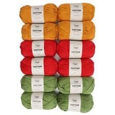 Adlibris Cotton Garn 100g Glad Bestemorsruter 12-pakk