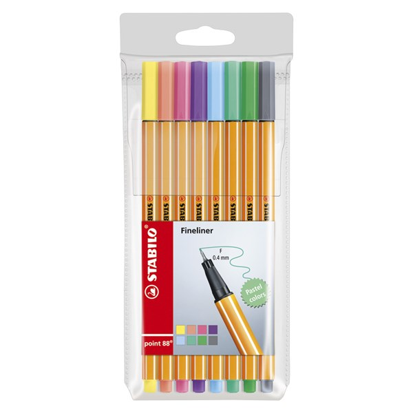 Ritpenna Fineliner Stabilo Point 88  Shades of Pastel Pastell 8-pack