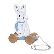Dragleksak Kanin, Trä/vit/blå, Bloomingville