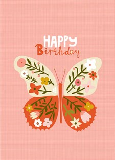 Happy Birthday Pink Butterfly